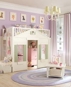 Lavender room with loft bed ♥ I love the idea of a loft bed...maybe in our next house?