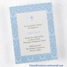 Dots of Blue Baptism Invitation - pretty blue border with a simple blue cross surround the wording of your invitation.  Click here to see this and many more baptism & christening invitations -  www.PrintedCreations.carlsoncraft.com.  Find more unique celebration ideas at www.baptism-and-christening-keepsakes.com.  #baptisminvitations  #christeninginvitations