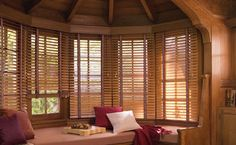 Wood Blinds Design For Classic Home, vertical window blinds, bay window blinds ~ Home Design Wooden Window Blinds, Faux Wood Blinds, Wooden Shutters, Wood Windows, Blinds For Windows, Arched Windows, Bedroom Windows, Window Seats, Wood Paneling