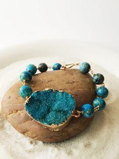 Turquoise Druzy Jasper Rounds 14k Gold Fill by Bellebijouatelier