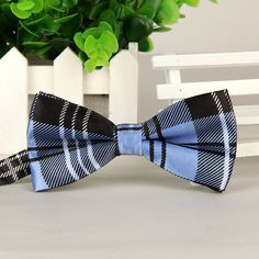 207b2d39320e Men's Bow Tie Baby Blue Plaid Limited Edition by MrBowTieShop