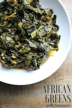 African Greens with Tomatoes and Turmeric - Healthy #Vegan Dinner / Lunch / Side Recipes - #plantbased #cleaneating