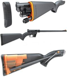 Henry U.S. Survival AR-7 .22 LR  Parts store in the stock, water resistant, floats. No tools needed to assemble. Inexpensive. Easy to use. Stock stores three 8 round magazines.