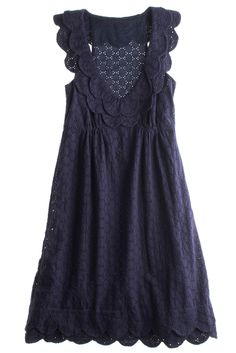 I love eyelet dresses. white is classic, but navy would be awesome in summer with gold sandals and a white bag :)