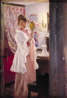 Peder Severin Krøyer - Marie and a mirror (1889)