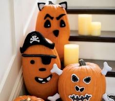 Boo!! pumpkin decorating the stairs. Don't kick over the candles please