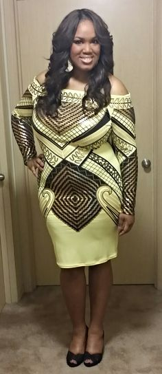 #mychicandcurvystyle #happychicandcurvyclient LaTasha looks beautiful in Chic and Curvy thanks for sharing your gorgeous pic with us  available at: http://www.chicandcurvy.com/bodycons/product/9768-gold-black-and-yellow-off-the-shoulder-bodycon