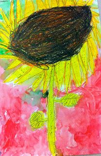 Art: Expression of Imagination: Colorful Sunflowers and Fall Leaves by Kindergarten