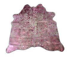 Pink Acid Washed Metallic Cowhide Rug Average Size by Cowhidesusa