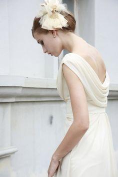 Ivory cowl neck wedding dress   Do The Aisle