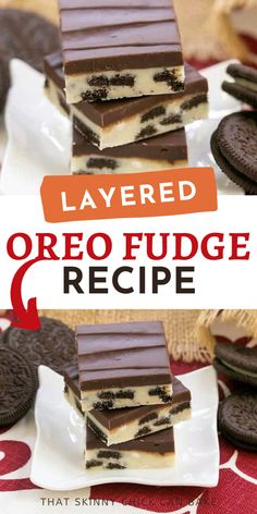 Oreo Double Decker Fudge - White chocolate fudge with chunks of Oreos topped with dark chocolate fudge! This Layered Oreo Fudge makes great holiday gifts or a special treat for your family! #easyrecipe #fudge Homemade Desserts, No Bake Desserts, Easy Desserts, Delicious Desserts, Yummy Food, Fudge Recipes, Candy Recipes, Dessert Recipes, Yummy Recipes