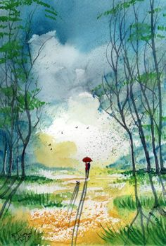 Original Signed Watercolour Painting - April Showers - By Artist KJ CARR