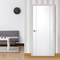 Bespoke Forli White Flush Door with Aluminium Inlay - Prefinished.  #bespokedoor #internalglazeddoor #whitebespokeinternaldoor