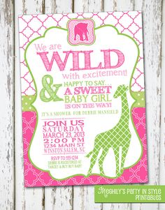 Jungle or Safari Baby Shower Invitation  **This listing is for the digital 5x7 invitation with your party information**      This listing is for a high resolution digital file of the pictured invitation in JPEG or PDF format (300 dpi). Please copy, paste, and fill out the following details in the message to seller area:    Mom-to-be Name:  Date:  Time:  Location:  RSVP:  Registry Info:  Hosted by:  Email where you would like file sent to:  Single jpeg file or pdf file (2 invites per page)…