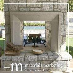Outdoor Fireplace in Charcoal Limestone Charcoal Limestone Fireplace Surround, in a honed finish, wi Limestone Fireplace, Fireplace Mantle, Fireplace Surrounds, Limestone Block, Fireplace Ideas, Custom Fireplace, Modern Fireplace, Residential Architecture, Interior Architecture