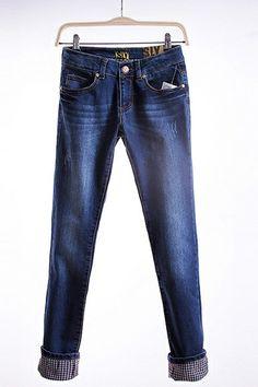 Fashion New Look Flange Plaid Jeans
