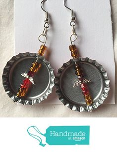 Red Bottlecap with Brown Red Silver Beaded Angel Earrings from Southern Women Crafts https://www.amazon.com/dp/B06X3Z5C57/ref=hnd_sw_r_pi_dp_0qrQybKM0VQTJ #handmadeatamazon