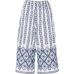 Miguelina Yara Rhombus Embroidered Culottes ($260) ❤ liked on Polyvore featuring pants, capris, cotton pants, miguelina, stretch waist pants, embroidered pants and cotton elastic waist pants