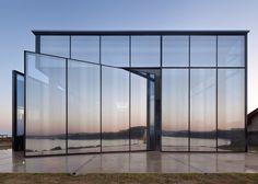 *제주 애월읍 글래스박스 카페 Platform_a completes reflective glass and volcanic stone cafe on Jeju island coast :: 5osA: [오사]