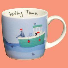 A fishing boat themed fine bone china mug dishwasher safe 13cm tall holds 10 fl. oz. or 272 ml.