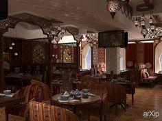 """Чайхана """"Пиала"""". Проект интерьера: интерьер, восточный, марокканский стиль, ресторан, кафе, бар, 80 - 100 м2, столовая #interiordesign #moroccan #restaurant #cafeandbar #80_100m2 #diningroom arXip.com"""