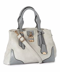 ZULILY.COM - Gray & Gold Lock Faux Leather Satchel - $19.99 (SALE)