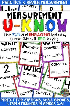 Students love playing U-Know games for fun REVIEW of measurement conversions or for test prep. It's a perfect activity for any small group or station, and great for early finishers. Measurement U-Know is a fun learning game played similar to UNO except if you get an answer wrong, you have to draw two! Students will beg to practice converting measurements in this way! Covers metric and customary! Available in MANY other topics, too!