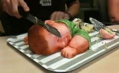 another creepy baby shower cake.. who would want to cut that??