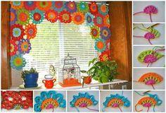 Cortina tejida en flores de colores. | FLORES EN CROCHE | Pinterest