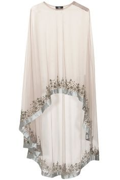 Grey floral beads embroidered cape