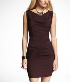 DRAPED BOATNECK DRESS at Express. the full back exposed zipper is hot