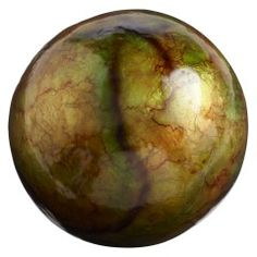 I really like the look of a green/brown patina on a piece. I picture this in a basket with spheres of varying materials.