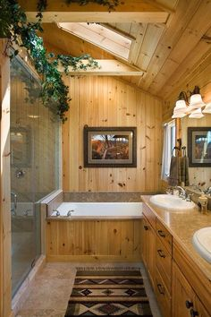 The bathroom ❤ dream bathrooms, beautiful bathrooms, log cabin bathrooms, r Rustic Bathroom Designs, Rustic Bathrooms, Future House, Log Cabin Bathrooms, Rustic Cabin Bathroom, Wood Bathroom, Log Home Decorating, Log Cabin Homes, Cabin Interiors