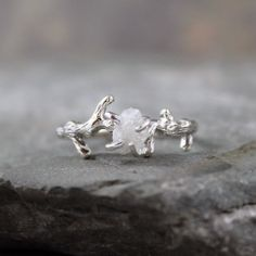 Raw Uncut Rough Diamond Solitaire and 925 Sterling Silver Twig Ring