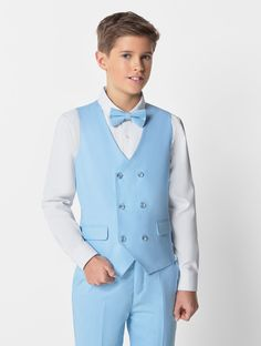 Shop for boys light blue waistcoat suit at Roco. Perfect as a page boy suit with free UK delivery & 30 day returns. Kids Wedding Suits, Boys Party Wear, Gray Groomsmen Suits, Suits Harvey, Light Blue Suit, Double Breasted Waistcoat, Neck Designs For Suits, Blue Trousers, Boys Suits