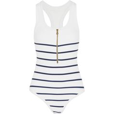 Heidi KleinNantucket Striped Stretch-cloqué Swimsuit (890 BRL) ❤ liked on Polyvore featuring swimwear, one-piece swimsuits, swimsuit, white, one piece swimsuit, sheer swimsuit, white one piece swimsuit, transparent swimsuit and see through swimsuit