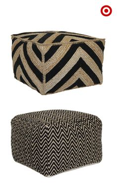 The pouf is a versatile design accent that can make a difference in any room. Besides working as extra seating, poufs like these can add a pop of texture or pattern to a living room or bedroom. Use them as tables, too!
