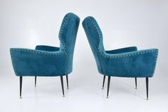 Pair of Italian Curved Armchairs, 1950s | From a unique collection of antique and modern armchairs at https://www.1stdibs.com/furniture/seating/armchairs/