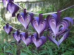 TWO Garlands Of PURPLE HEARTS. 10 Hearts. Wedding by TreeTownPaper