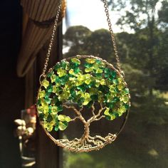 Ash Tree SunCatcher Tree of Life Green by TheTwistedTreeOfLife
