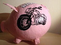 grosses Sparschwein - Schwein - Harley Davidson - Motorrad - Geldgeschenk - BOX