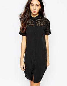 Image 1 ofVero Moda Sheer Shoulder Detail Shirt Dress