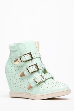 In love with these shoes  Bumper Studded 3 Buckle Wedge Sneakers @ Cicihot Women Sneakers-Fashion Sneakers,Casual Sneakers,Wedge Sneakers,Platform Sneakers,Hidden Wedge Sneakers,High Top Sneakers,Lace Up Sneakers,Studded Sneakers,Buckle Sneakers