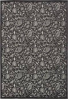 Black 6' x 9' Transitional Indoor/Outdoor Rug | Area Rugs | eSaleRugs