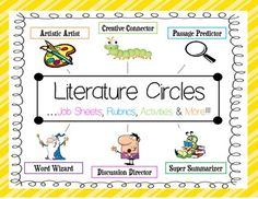This+Literature+Circle+Pack+has+the+tools+you+need+to+get+literature+circles+running+in+your+2nd-4th+grade+classroom+(can+be+adapted+for+5th+and+6th)!++This+set+includes+job+sheets,+prediction,+quotation,+and+vocabulary+activities,+connection+posters+and+a+group+rubric!