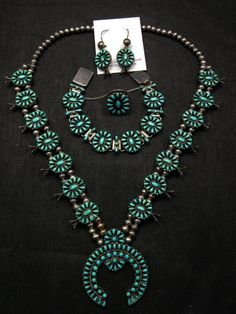Vintage Zuni Turquoise Silver Squash Blossom Necklace, Bracelet, Earrings & Ring