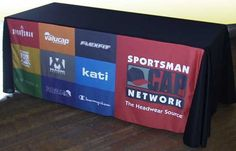 Print your logo on only the front, and flip it around for different types of trade shows!
