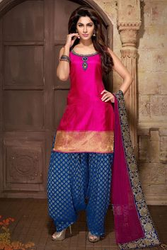 Z Fashion Trend: STUNNING BLUE AND MAGENTA PARTY WEAR DESIGNER SUIT...
