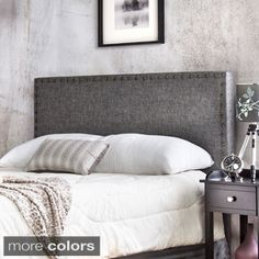 $239 Furniture of America Adjustable Nailhead Trim Flax Upholstered Headboard | Overstock.com Shopping - The Best Deals on Headboards