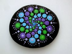 Boho chic decor-mandala stones-dot art-painted by RockArtiste